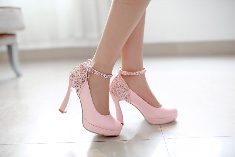 New style shoes women pumps fashion Thick with elegant sequins high heels sapatos femininos chaussure femme size 35~43