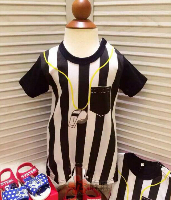 2015 New Soccer referee jerseys Baby Cotton rompers Newborn infants toddler football basketball shirts jumpsuits summer clothes(China (Mainland))