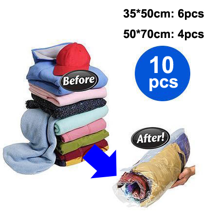 10pcs/lot 35*50cm / 50*70cm Travel Hand Roll Vacuum Storage Bag for Clothes Rolling Compressed Space Saver Organizer Bags Home(China (Mainland))