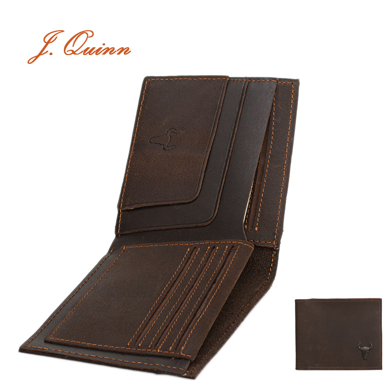 J.Quinn 2016 Men Wallets Short Genuine Leather Wallet Mens Clip Cowhide Credit Card Money Small Brand High Quality Vintage Purse(China (Mainland))