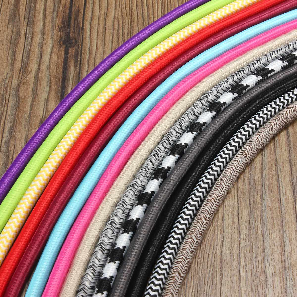 3 Meter 2 Cord 0.75cm Multicolor Retro Vintage Twist Braided Fabric Light Cloth Cable Electric Wire Chandelier Pendant Lamp Wire(China (Mainland))