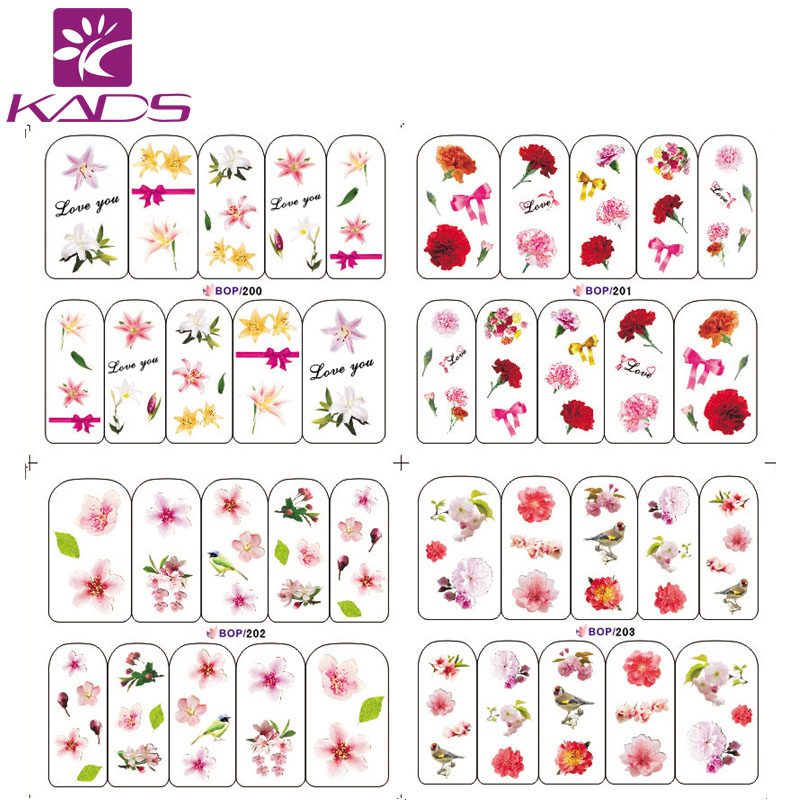 LARGE BOP200-203 4/Set (4 DESIGNS IN 1).Water decal Nail Stickers plant and bird design sticker nail decals for nail water(China (Mainland))