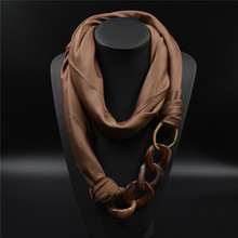 Silk Scarf Necklace Acrylic Pendant Long Neckerchief Scarves Women Printed Silk Muffler 2015 New Brand Designer Scarfs(China (Mainland))