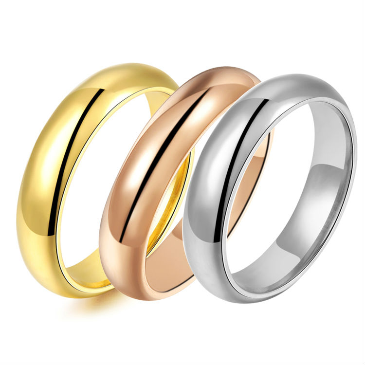 New Arrival ! one piece high quality wholesale 18k white gold plated jewelry Titanium Stainless Steel ring three colors PUR11(China (Mainland))