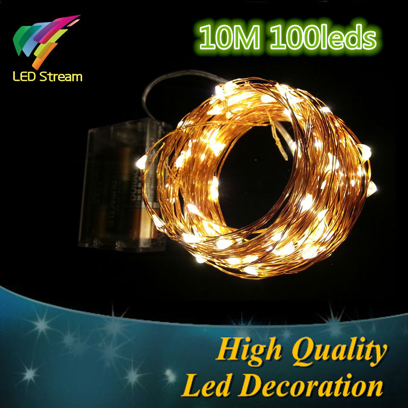 AA Battery Operated 33FT 10M 100 led Christmas Holiday Wedding Party Decoration Festi LED Copper Wire
