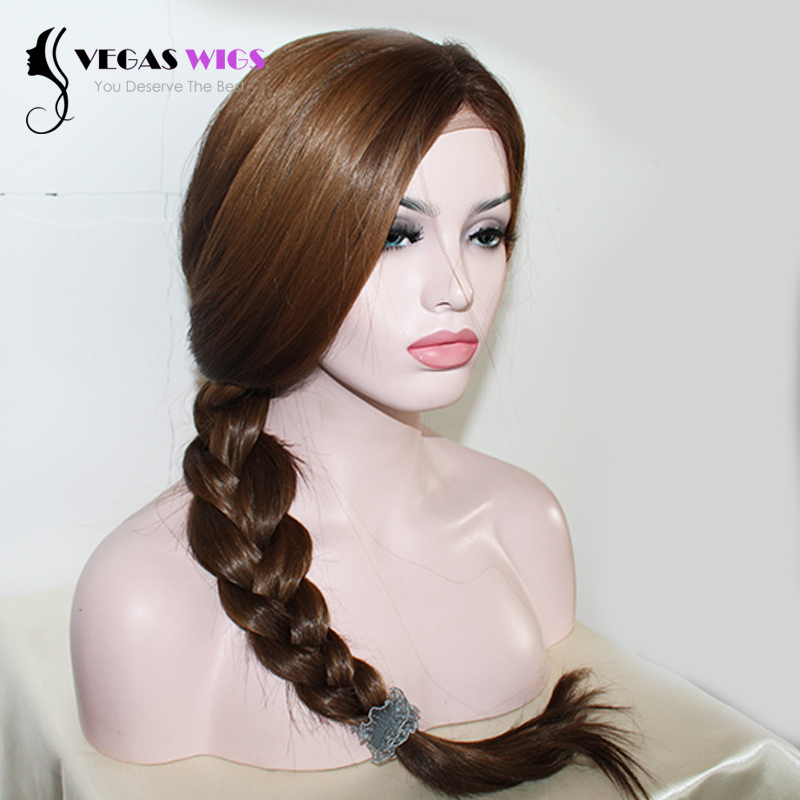 Vegaswigs 2015 High Quality Free Shipping Wig Kanekalon Synthetic Lace Front Wig Brown Highlight Hair Wigs Straight Style(China (Mainland))