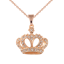 Buy New 2018 Queen King Crown Necklace Rose Gold&Silver Color Choker Pendant Shiny Rhinestone Women Jewelry Crystal Wedding Gifts for $1.40 in AliExpress store