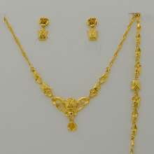 new NEW 24k Women set Jewelry Gold Plated Flower Chain Necklace/Earrings/Bracelet for Girl Bride Jewel,Best Wedding Party Gift(China (Mainland))