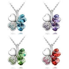 Min.order is $10 (mix order)20 Colors 18K Gold And Platinum Plated Clover Austria Crystal Pendants Nickel Free Fashion Necklace