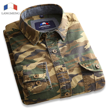 Buy Langmeng 100% Cotton Camouflage shirt Men Breathable Army Combat casual Shirts Outwear Military Camo Clothes Meisai mens shirt for $19.99 in AliExpress store