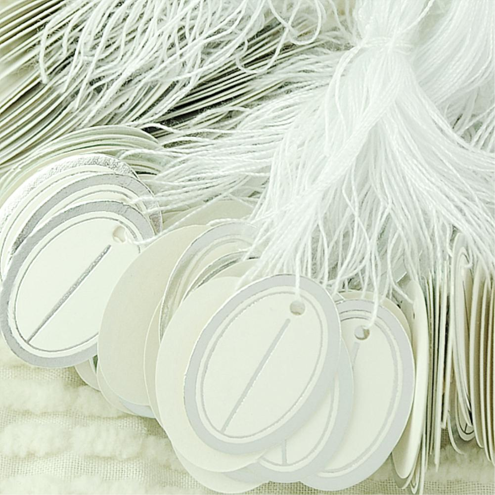 500pcs Gold Color Oval Paper Tags Price Display Price Labels Pricing Tags With Strings Luggage Wedding Note Blank price Hang tag(China (Mainland))