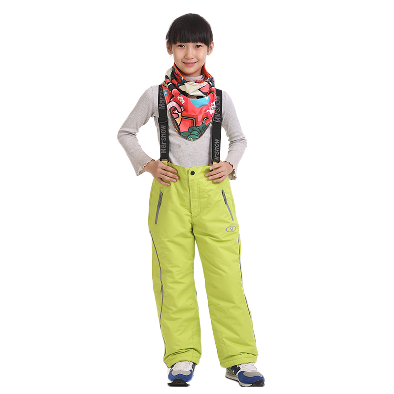 Dropshipping new arrival Thicken boy girl windproof ski suit 2 layer kids waterproof skiing pants winter ski trousers children(China (Mainland))