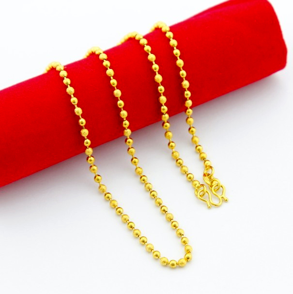 Direct factory price fashion classic men jewelry necklace vacuum 24 k gold-plated set beads chain fast free shipping pjp089(China (Mainland))