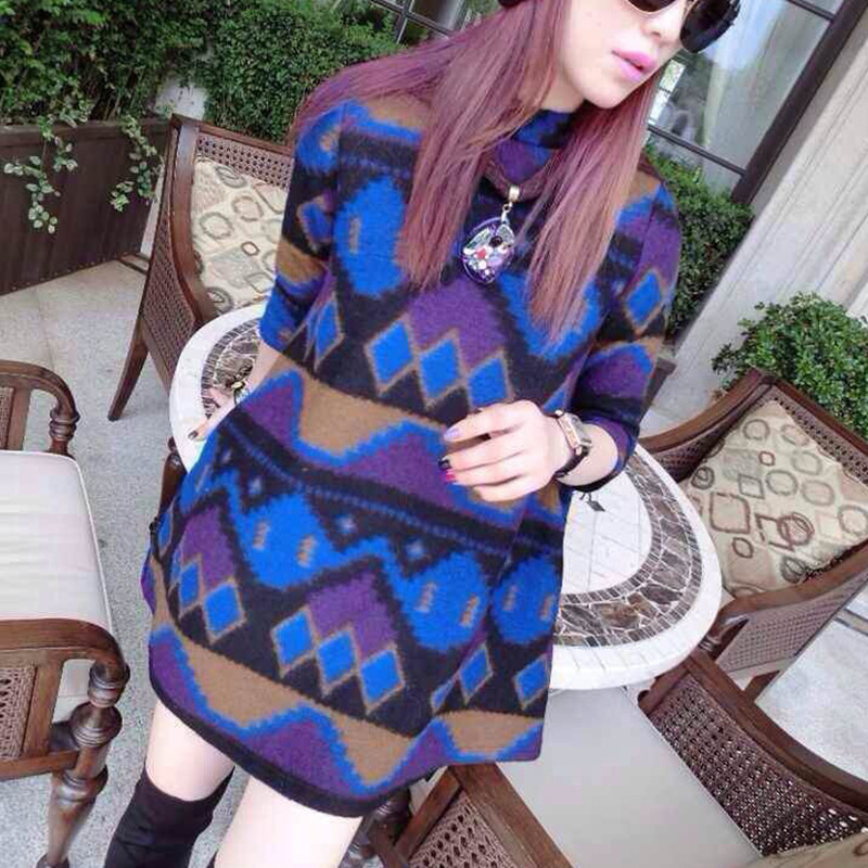 women dress round neck woolen Diamond printing thick velvet plus size ladies dress vestidos  2015 new fashion winter dress