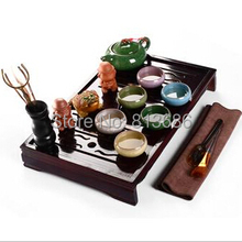 glazed crackle ceramic tea set with tea tray yixing teapot tea cup