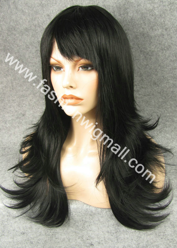 Free Shipping 24 Long  #1 Black Heavy Density Natural Straight Front Lace Synthetic Hair Fashion Ladies Wig W10<br><br>Aliexpress