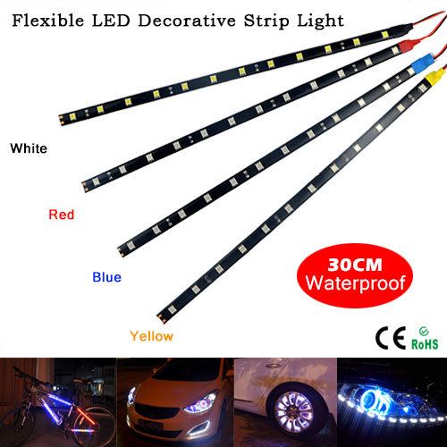 100% Waterproof 30cm Flexible LED Car Strips12V 5W DIY LED Daytime Running lights or Car Auto Decor White/Red/Blue/Yellow 1PCS (China (Mainland))