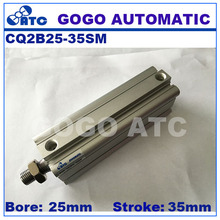 Buy CQ2B25-35SM SMC type standard single acting sing rod end male thread bore 25mm stroke 35mm aluminum pneumatic compact cylinder for $8.30 in AliExpress store