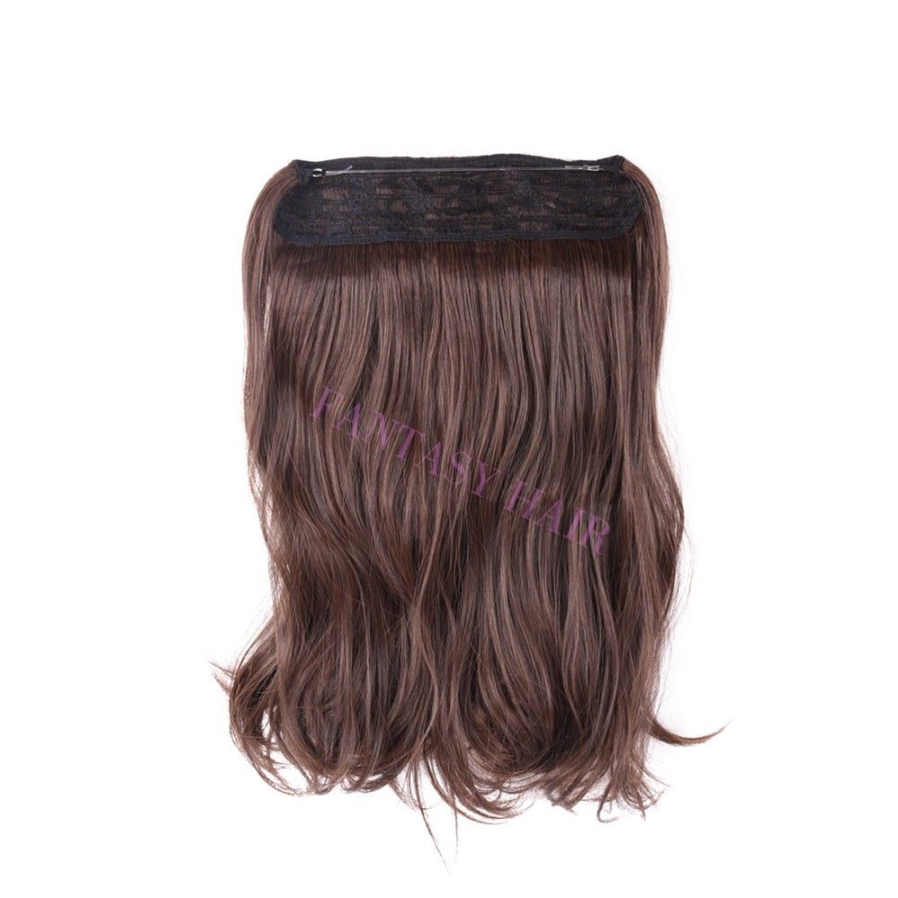 14 inch one piece light brown mixe dark brown hairpiece women long natural wave no clips synthetic flip in hair extensions-1