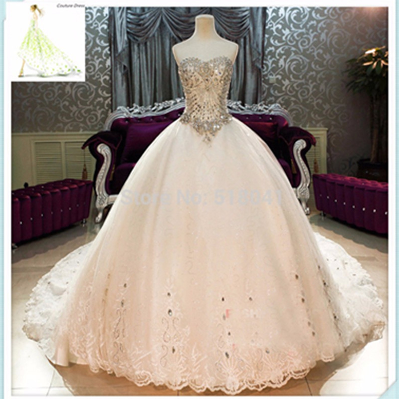 Real made luxury wedding gowns crystal beaded sweetheart for Big bling wedding dresses