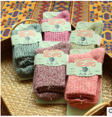 2014 New Fashion Brand New High Cuffs And A Solid Line Rabbit Wool Socks Autumn And Winter Thick Warm Socks wz010(China (Mainland))