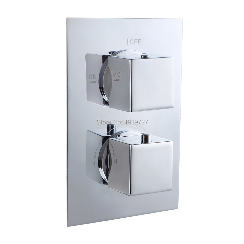 High Quality Concealed Bathroom Bath Thermostatic Shower Valve Mixer Tap Square 2 Dial 2 Way Temperature Control 2 Functions(China (Mainland))
