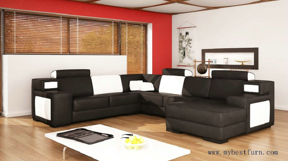 Free Shipping Black leather couch, black and white leather, modern and classic sofa set couch set S8662(China (Mainland))