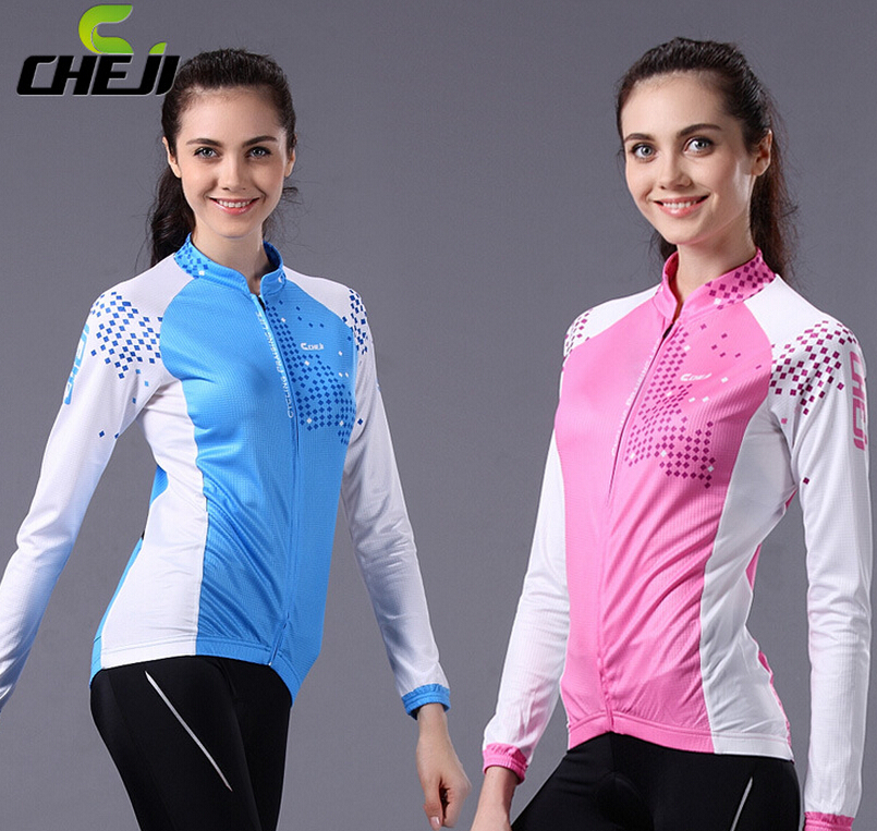 Cheji Brand Pink Blue Bike Clothes Set Bicycle Cycling Pants Jerseys Suit Long Sleeve Bicicleta Ropa Ciclismo Maillot for Women<br><br>Aliexpress