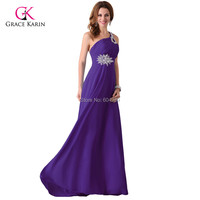 Grace Karin Elegant One Shoulder Women cheap Long Formal Evening Dresses Chiffon Padded abendkleider 2015 Free Shipping 2949