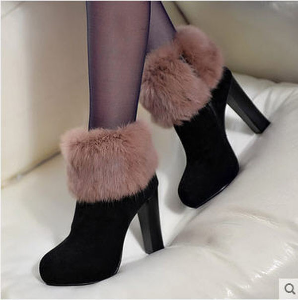 Фотография New Women High Heel Leather Boots  Rabbit Fur Black Genuine Leather Ankle Boots Round Toe Winter Autumn Warm Casual Shoes S927