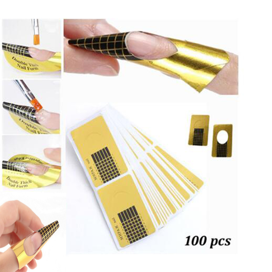 Free Shipping100 PCS Nails Gel Extension Sticker Nail Art Professional Acrylic Nail Forms