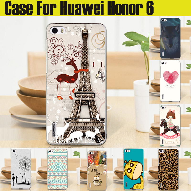 2015 New Top Quality HOT Ultra thin slim Painted Cute Lovely Cartoon UV Print Hard Cover Case For Huawei honor 6 case in stock