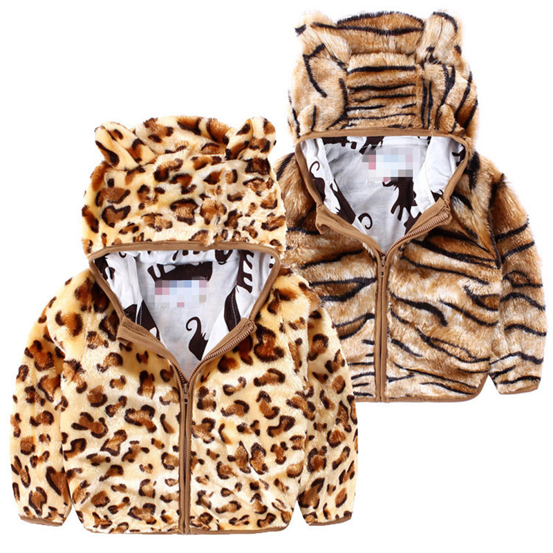 Retail New Hot Selling Autumn Kids Jackets 2 Colors Leopard And Tiger Print Hooded Long Sleeve Girls Coat Casual Kids Coat(China (Mainland))