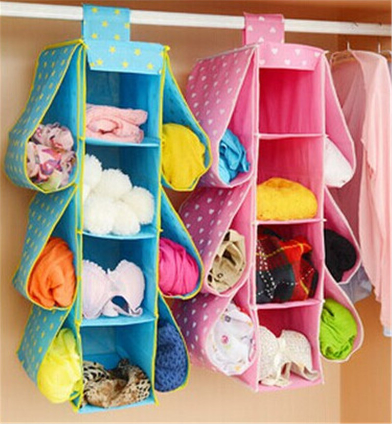 Printed Storage Bags For Home 3 Colors Hanging Storage Bags Clothing Storage Bag Wardrobe Organizer Space Saver Hanging Type(China (Mainland))