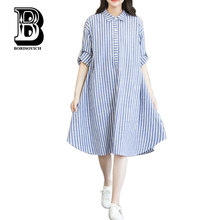 New Arrival 2016 Fashion Striped Long Sleeve Comfortable Cotton Linen Loose Casual Shirt Dress Plus Size Women Dresses H243(China (Mainland))