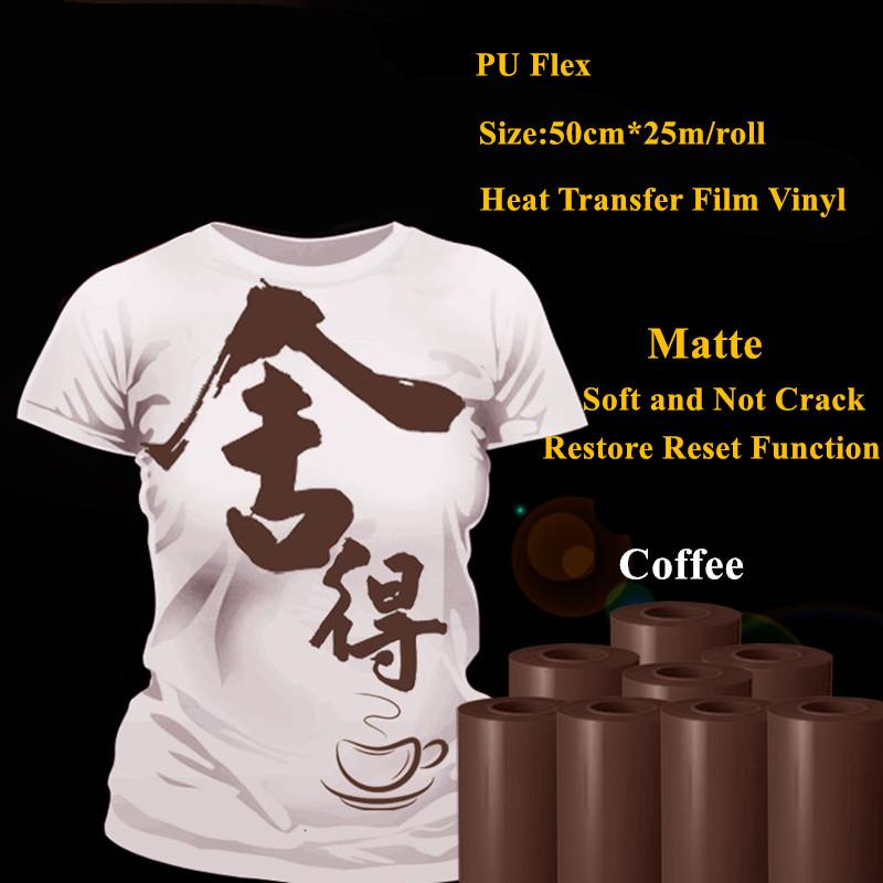 PU Flex heat transfer vinyl for clothing coffee color matte pu vinyl heat transfer heat transfer film vinyl 50cm*25m/roll(China (Mainland))