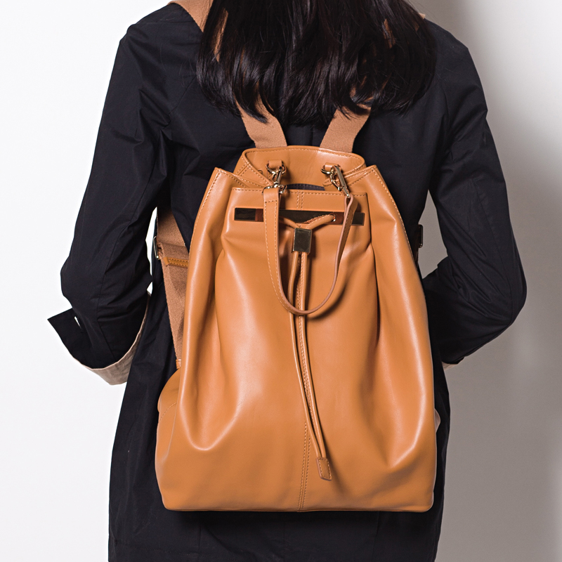 Double-shoulder women's cowhide drawstring bucket bag casual genuine leather female bags - shangqin luo's store