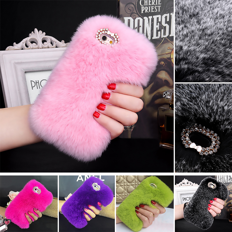 5S Real Rabbit Hair Case iPhone SE 5 Bling Shiny Diamond Fur Rhinestone Plush Furry Hard Back Cover Iphone 5s - GMFIVE International Trade Co. Ltd store