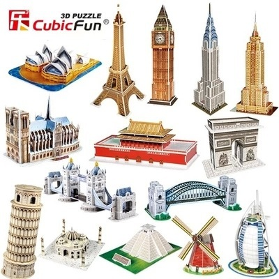 Cubic Fun DIY handmade 3D Puzzle Paper Papercraft Double Decker Bus Eiffel tower Titanic Tower Bridge Empire State Building(China (Mainland))