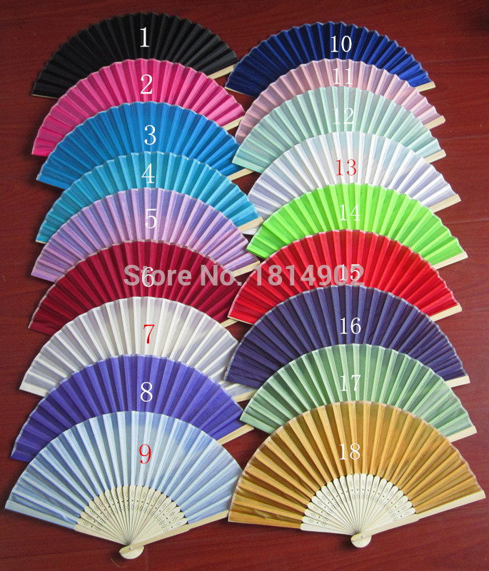 DHL Free shipping 100pcs/Lot Brand New Folding Wedding Silk Fan Personalized Wedding Favors For Guests 18 color(China (Mainland))