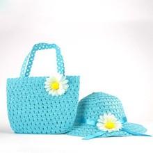 Baby Beach Sun Hats Bags Girls Kids Flower Straw Hat Summer Tote Handbag Bag Suit Free Shipping(China (Mainland))