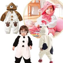 New Cute Animal Panda/Bear/Cow One Piece Long Sleeve Cotton Baby Romper Baby Costume Newborn Romper Velvet   Kids Costume(China (Mainland))