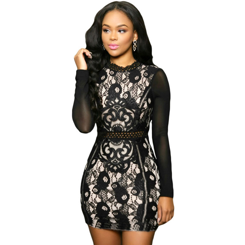 2016 Brand Style Lace Sheath Dresses For Women Full Sleeve Turtle Neck Hollow Zipper Fashion Pretty Party Clothing White Black(China (Mainland))