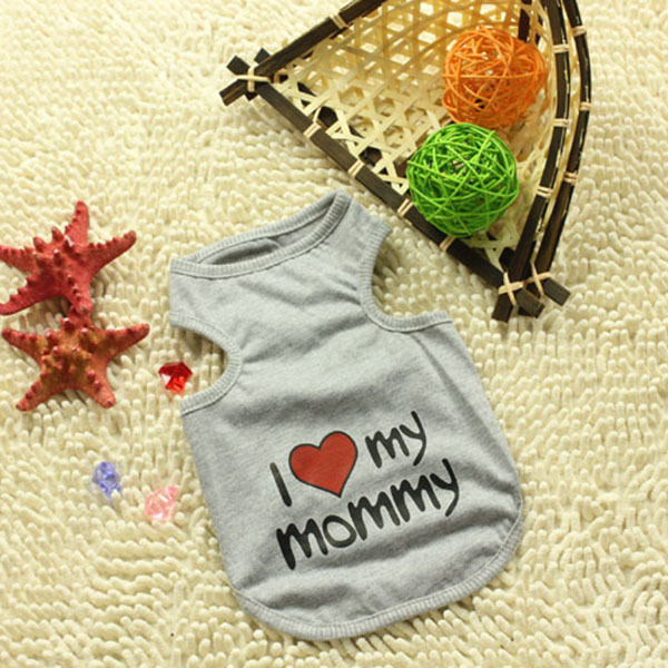 New foreign trade pet clothes dog clothes pet clothing dog vest vest -3 color I love myMon and Dad Free&Drop Shipping(China (Mainland))