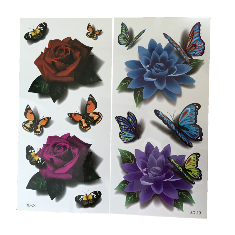 2Pcs Rose Design Temporary Tattoos Stencils 3D Waterproof Fake Temporary Tattoo Stickers On The Arm Tattoos Exotic Cool Stuff(China (Mainland))