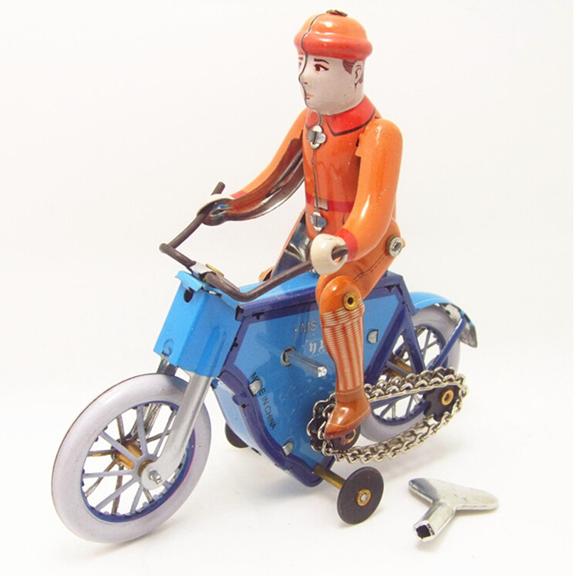 Free Shipping 2015 Novelty Bicycle Model Tin Wind Up Toys for Kid/Adults, Handmade Vintage Toys Children's Educational Kid Toy(China (Mainland))