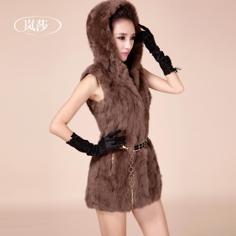 Fur coat 2015 womens  rabbit hair fur vest female hooded medium-long vestОдежда и ак�е��уары<br><br><br>Aliexpress