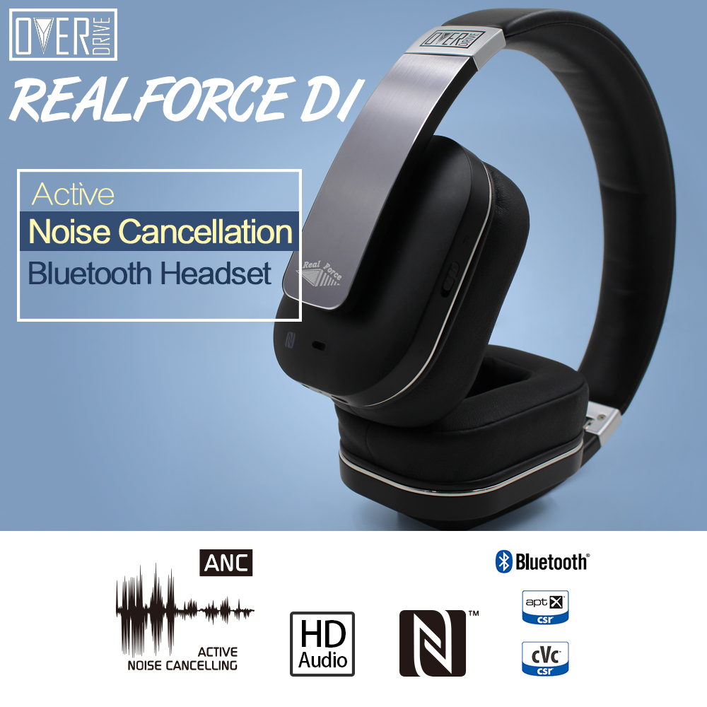 overdrive active noise cancelling bluetooth wireless headphones nfc high fide. Black Bedroom Furniture Sets. Home Design Ideas