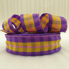 5Y42283 1″(25mm) yellow plaid scotish ribbon printed polyester ribbon 5 yards, DIY handmade materials, wedding gift wrap