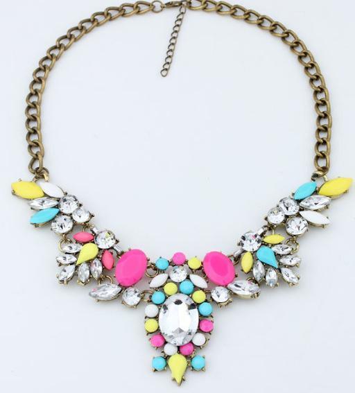 2014 New Fashion Hotselling Luxury Color Stone Brand Girls Jewelry Pendants Chokers Statement Necklace Women Jewelry